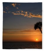 0502 Palms With Sunrise Colors On Santa Rosa Sound Fleece Blanket