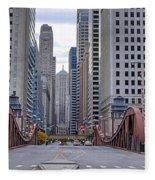 0525 Lasalle Street Bridge Chicago Fleece Blanket