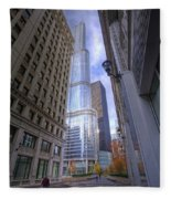 0527 Trump Tower From Wrigley Building Courtyard Chicago Fleece Blanket