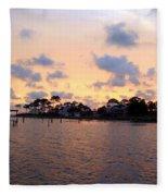 0530 Sunset Tree Silhouette Reflections Fleece Blanket