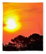 0601 Sunrise Over Silhouette Trees Fleece Blanket
