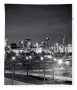 0647 Chicago Black And White Fleece Blanket