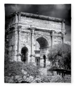 0791 The Arch Of Septimius Severus Black And White Fleece Blanket