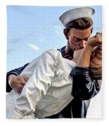 Closeup Nurse And Sailor Kissing Statue Unconditional Surrender Fleece Blanket