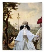 Japanese Chin Art Canvas Print  Fleece Blanket