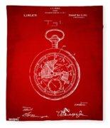 1916 Pocket Watch Patent Red Fleece Blanket