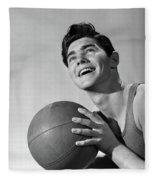 1950s Smiling Boy Holding Basketball Fleece Blanket