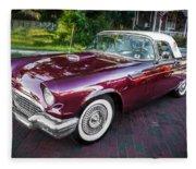 1957 Ford Thunderbird Convertible Painted    Fleece Blanket