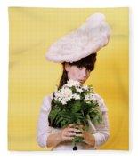 1960s Glamour Woman In White Turn Fleece Blanket