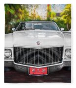 1970 Cadillac Coupe Deville Convertible Painted  Fleece Blanket