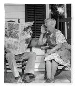 1970s Elderly Couple In Rocking Chairs Fleece Blanket