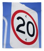 20km Road Sign Fleece Blanket