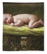 A Baby Asleep On A Pillar Fleece Blanket
