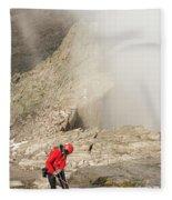 A Climber Descending Longs Peak Fleece Blanket