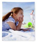 A Cute Little Hispanic Girl In A Summer Fleece Blanket