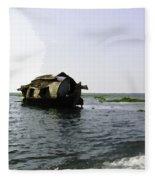 A Houseboat Moving Placidly Through A Coastal Lagoon In Alleppey Fleece Blanket