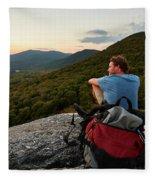 A Man Hikes Along The Appalachian Trail Fleece Blanket