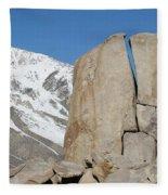 A Man Sport Climbs In Bishop Fleece Blanket