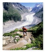 A Man Trail Runs In Chamonix, France Fleece Blanket