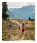 A Mother And Daughter Mountain Biking Fleece Blanket
