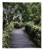 A Raised Walking Path Inside The National Orchid Garden In Singapore Fleece Blanket