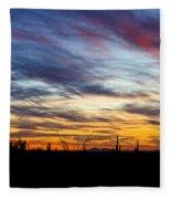 A Silhouette Sunset  Fleece Blanket