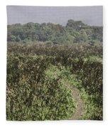 A Small Path Through Very Tall Grass Inside The Okhla Bird Sanctuary Fleece Blanket