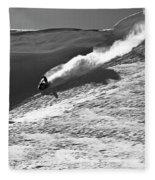 A Snowmobiler Jumping Off A Cornice Fleece Blanket