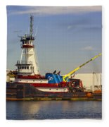A Tough Old Tugboat Fleece Blanket