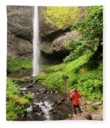 A Woman Admires Latourel Falls On June Fleece Blanket