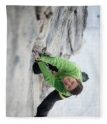 A Woman Climbs The Line 5.9 At Lovers Fleece Blanket