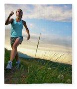 A Woman Trail Running Near Boulder, Co Fleece Blanket