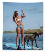 A Young Woman And Her Dog Sup Fleece Blanket