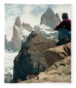A Young Woman Gazes At Cerro Fitzroy Fleece Blanket