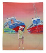 Abandoned Fishing Boats Tavira Fleece Blanket