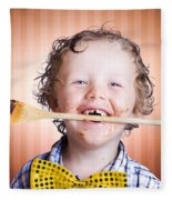 Adorable Little Boy Cooking Chocolate Easter Cake Fleece Blanket