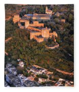 Aerial Photo  Alhambra And Albaycin In Granada Fleece Blanket
