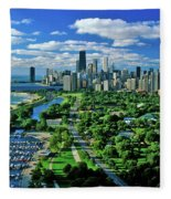 Aerial View Of Chicago, Illinois Fleece Blanket
