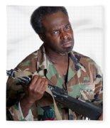 African American Man With Gun Fleece Blanket