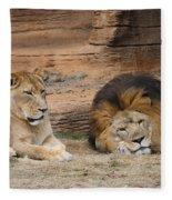 African Lion Couple 3 Fleece Blanket