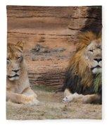African Lion Couple Fleece Blanket