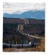 Alaska Oil Pipeline Fleece Blanket