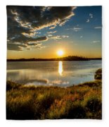 Alaskan Midnight Sun Over The Lake Fleece Blanket