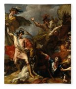 Alexander IIi Of Scotland Rescued From The Fury Of A Stag By The Intrepidity Of Colin Fitzgerald  Fleece Blanket