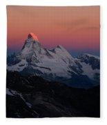Alpenglow On The Matterhorn And Dent Fleece Blanket