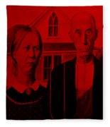 American Gothic In Red Fleece Blanket