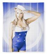 American Pinup Poster Girl In Military Uniform Fleece Blanket