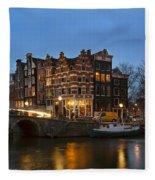 Amsterdam Corner Cafe Fleece Blanket