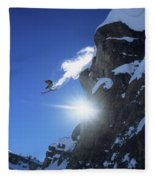An Extreme Skier Jumps Off A Snowy Fleece Blanket