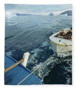 An Inuit Hunter Ferries His Sled Dogs Fleece Blanket